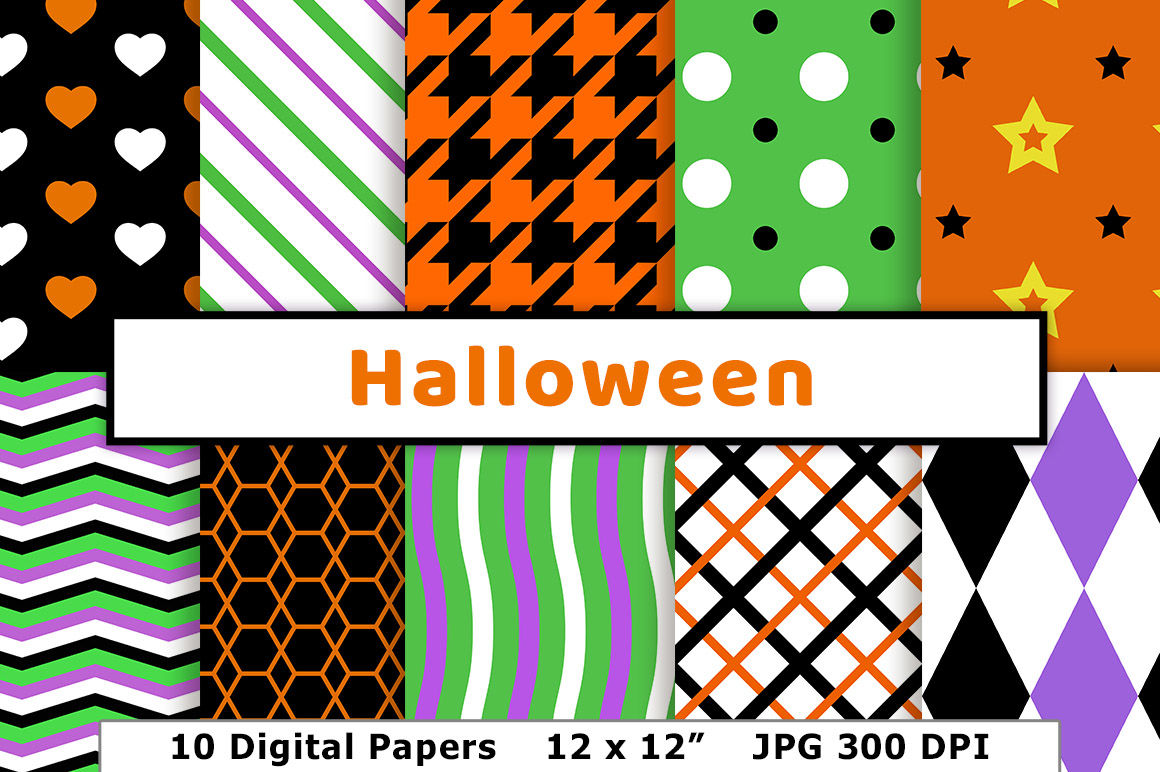 Halloween Digital Paper Black And Orange Backgrounds Green And Purple Patterns Spooky Scrapbook Paper By Digital Download Shop Thehungryjpeg Com
