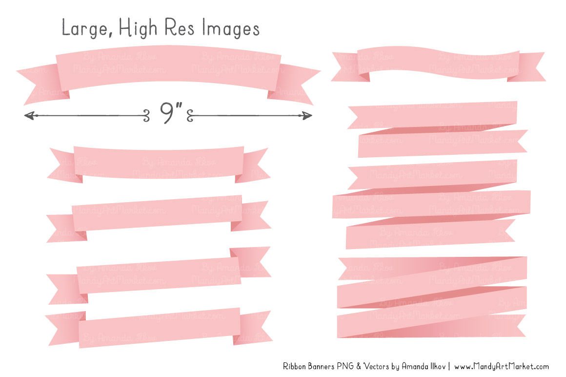 Classic Ribbon Banner Clipart in Soft Pink By Amanda Ilkov ...