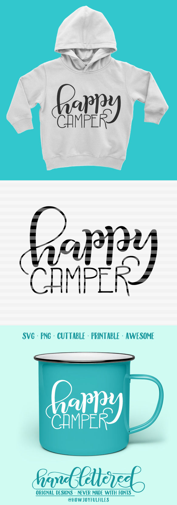 Happy Camper Lettering Svg Dxf Pdf Files Hand Drawn Lettered Cut File Graphic Overlay By Howjoyful Files Thehungryjpeg Com