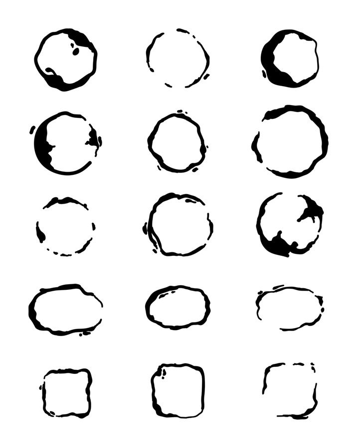 30 Coffee Stains Clipart- Watercolor + Black, Coffee Ring ...