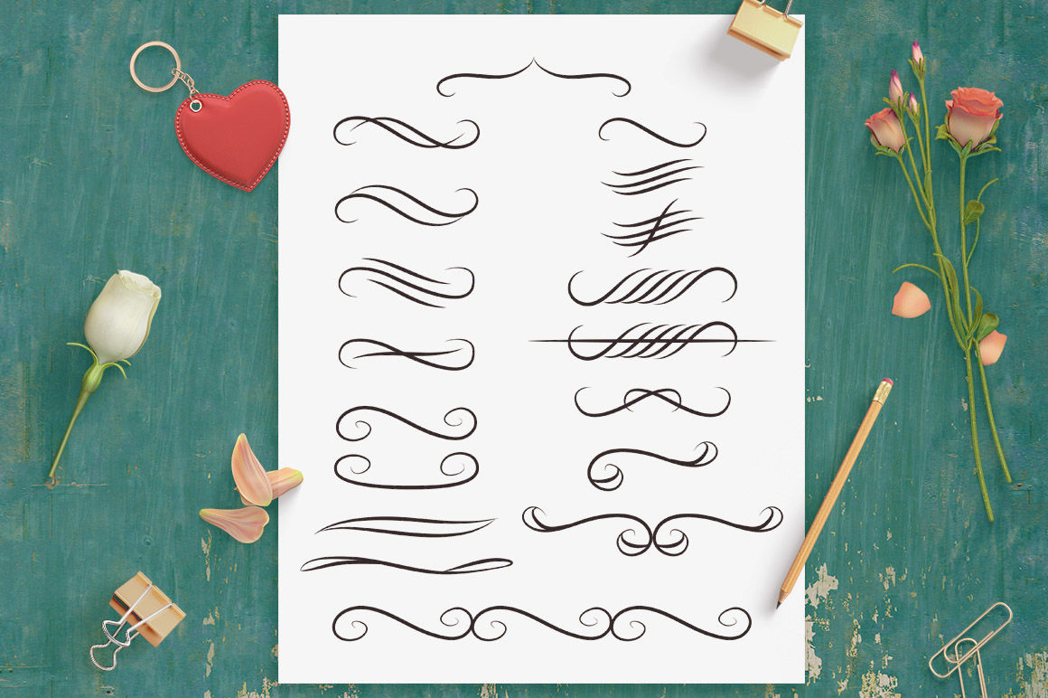 18 Calligraphy Dividers, Wedding Clipart, Calligraphy Clipart