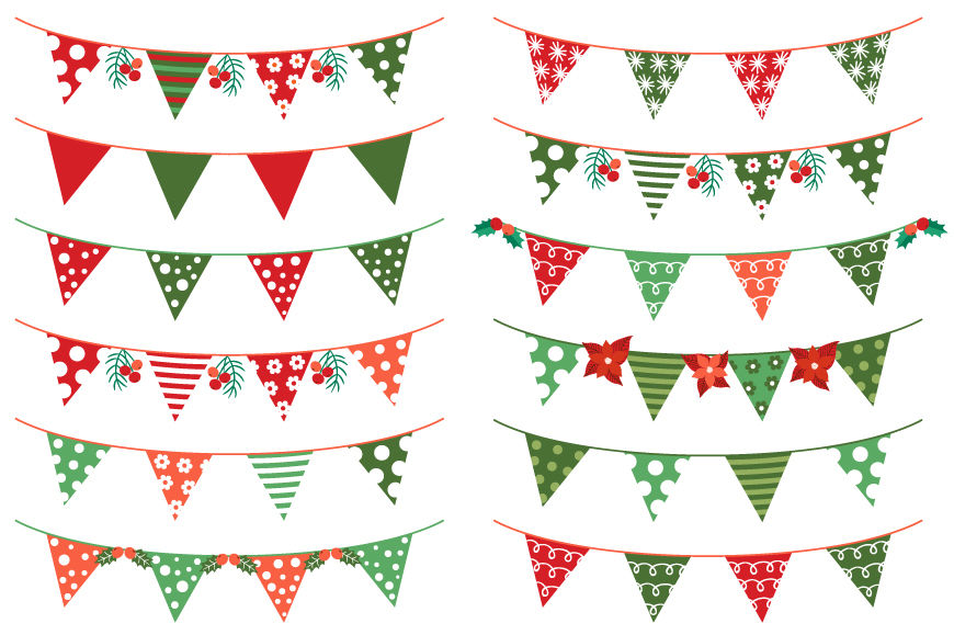 Christmas Bunting Clipart Red Green Holiday Banner Flag Garland