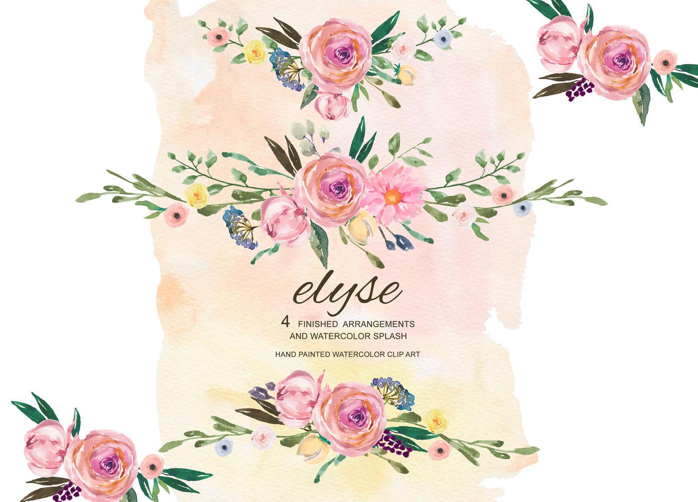 Watercolor Floral Arrangements Clipart Rustic Flowers By ...