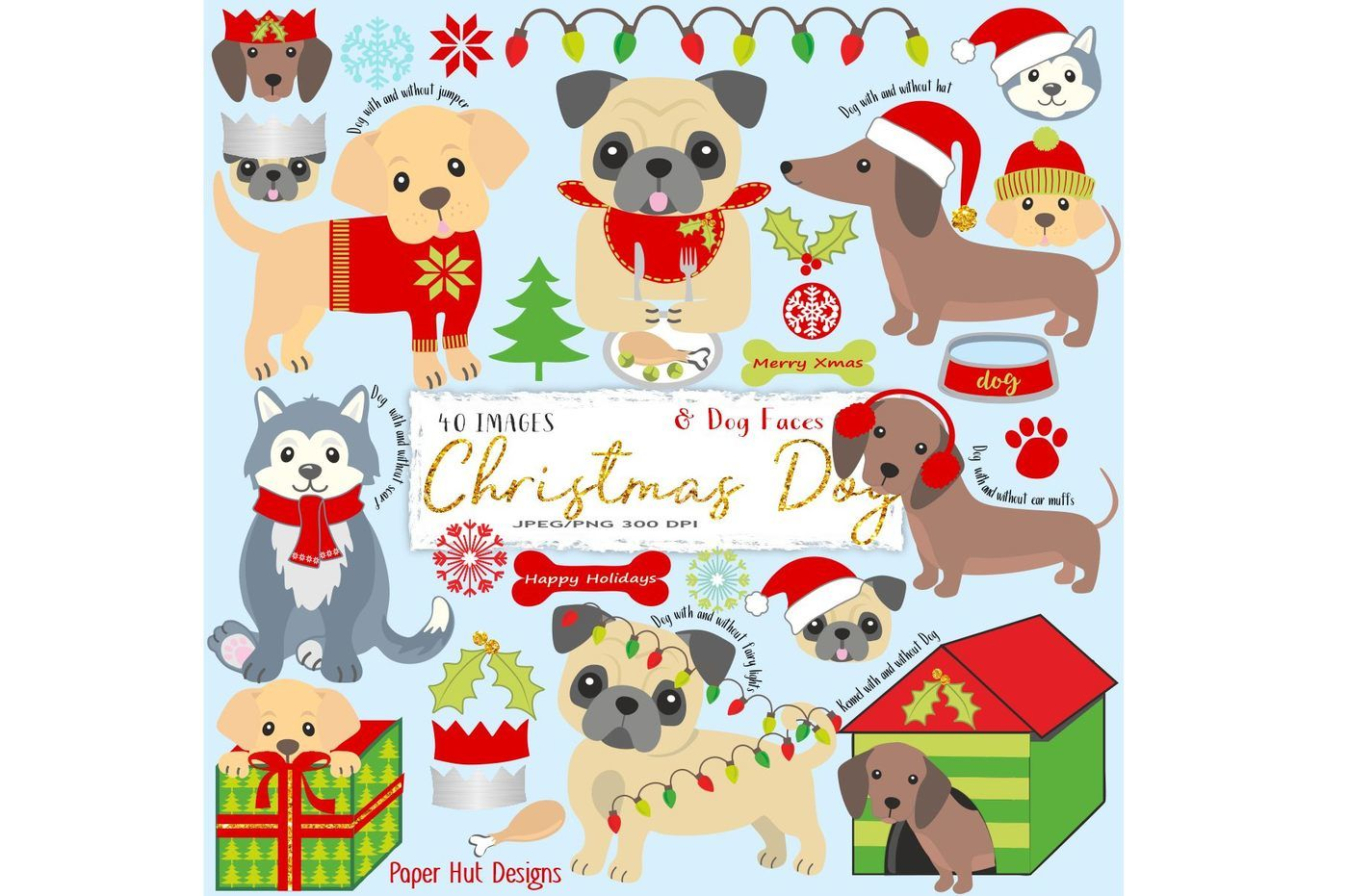 Christmas Dogs Clipart By Paperhutdesigns Thehungryjpeg Com