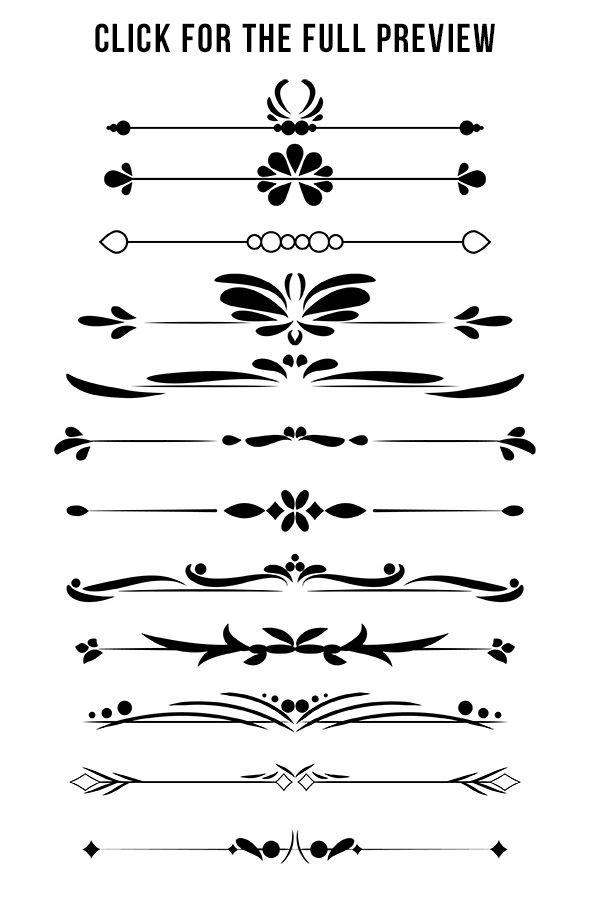 12 Decorative Dividers, Flourish Clipart, Text Divider ...