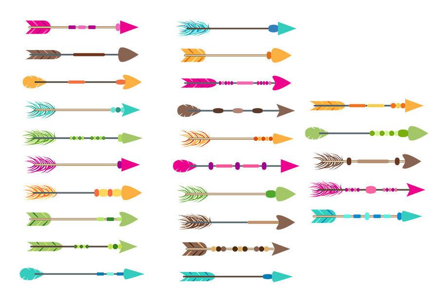 25 Colorful Arrows Clipart, Tribal Arrow Clipart, Boho ...