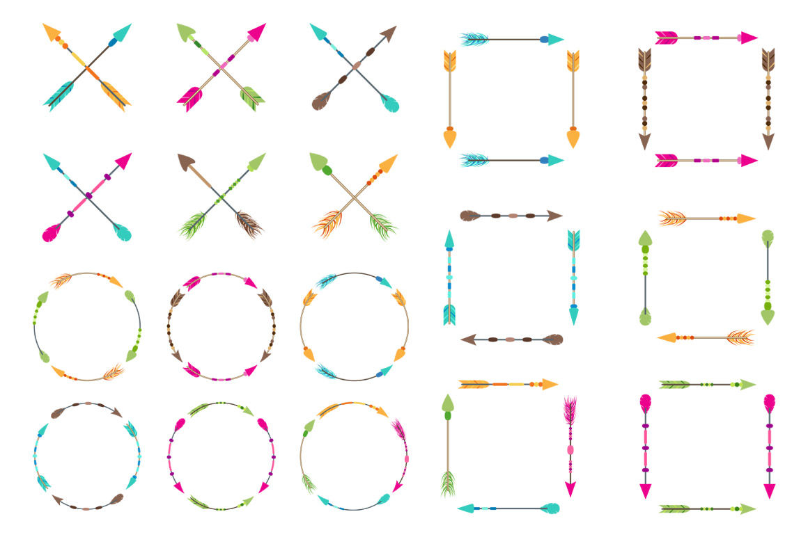 90 Arrows Clipart Mega Bundle Tribal Arrow Clipart Rustic Arrow