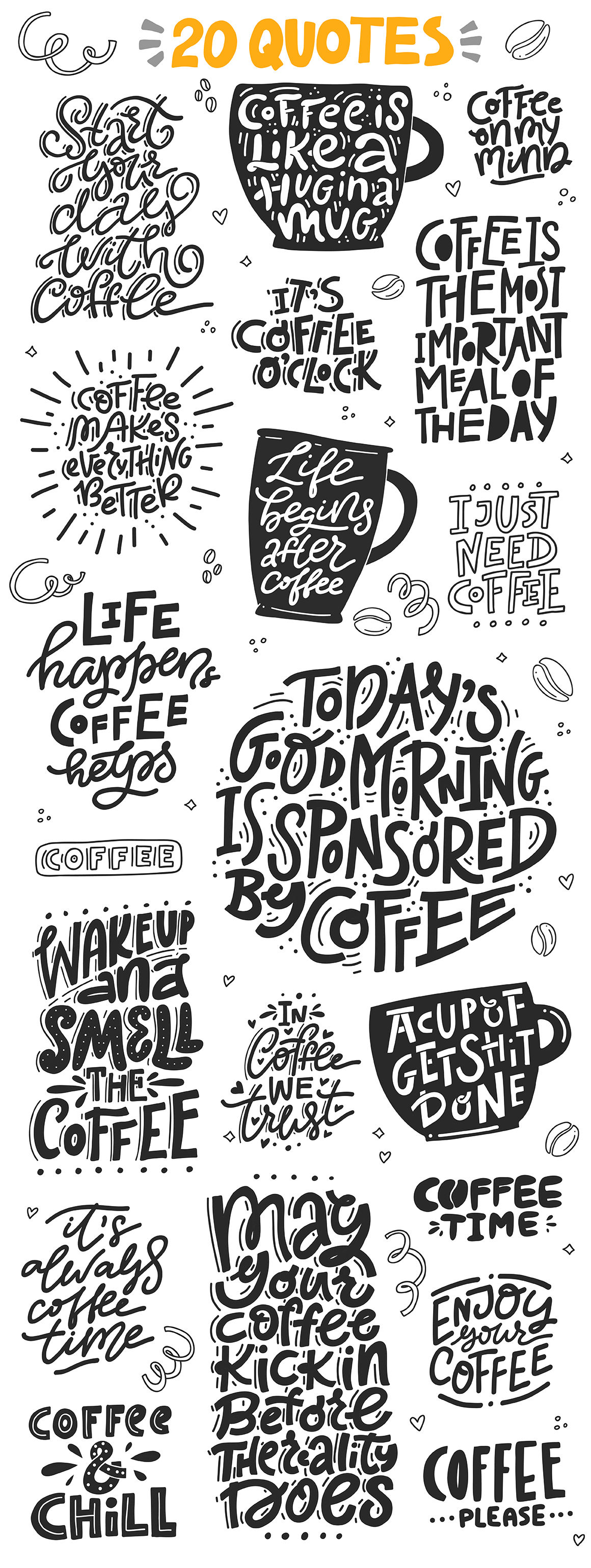 Coffee Lovers Cliart Lettering By Favete Art Thehungryjpeg Com