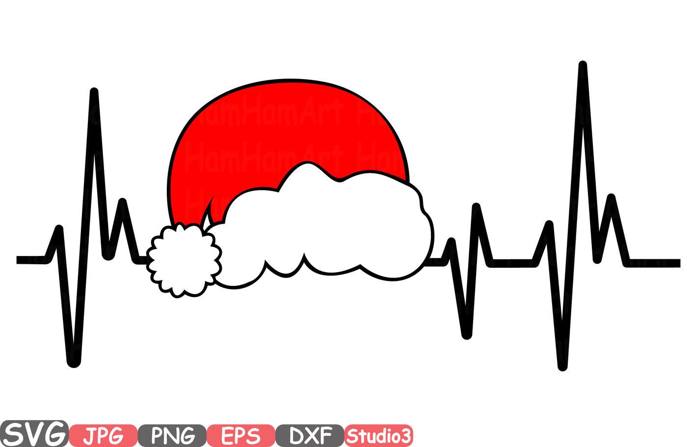 Christmas Heart Monogram Silhouette Svg Cutting Files Digital Clip