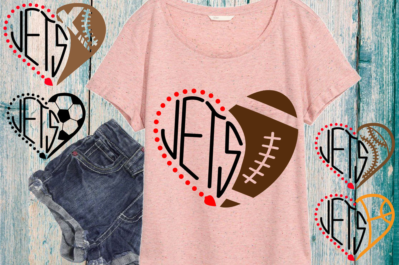 New York Jets Svg Nfl Nba Mlb Ncaaf Heart Ball Valentine 720s By