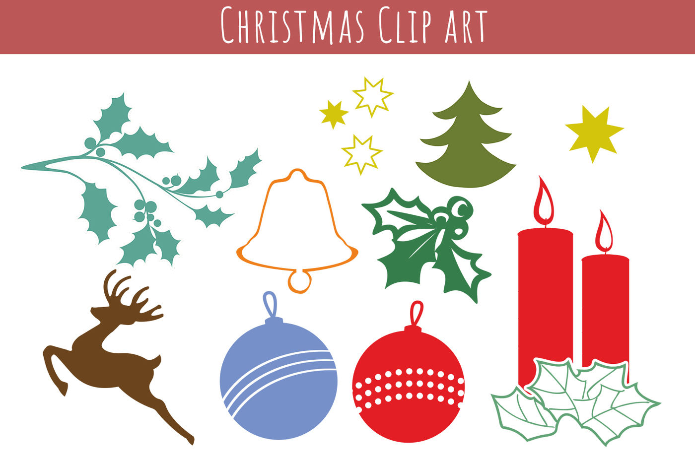 Christmas Clipart Bundle Christmas Symbols And Icons Vector Clip