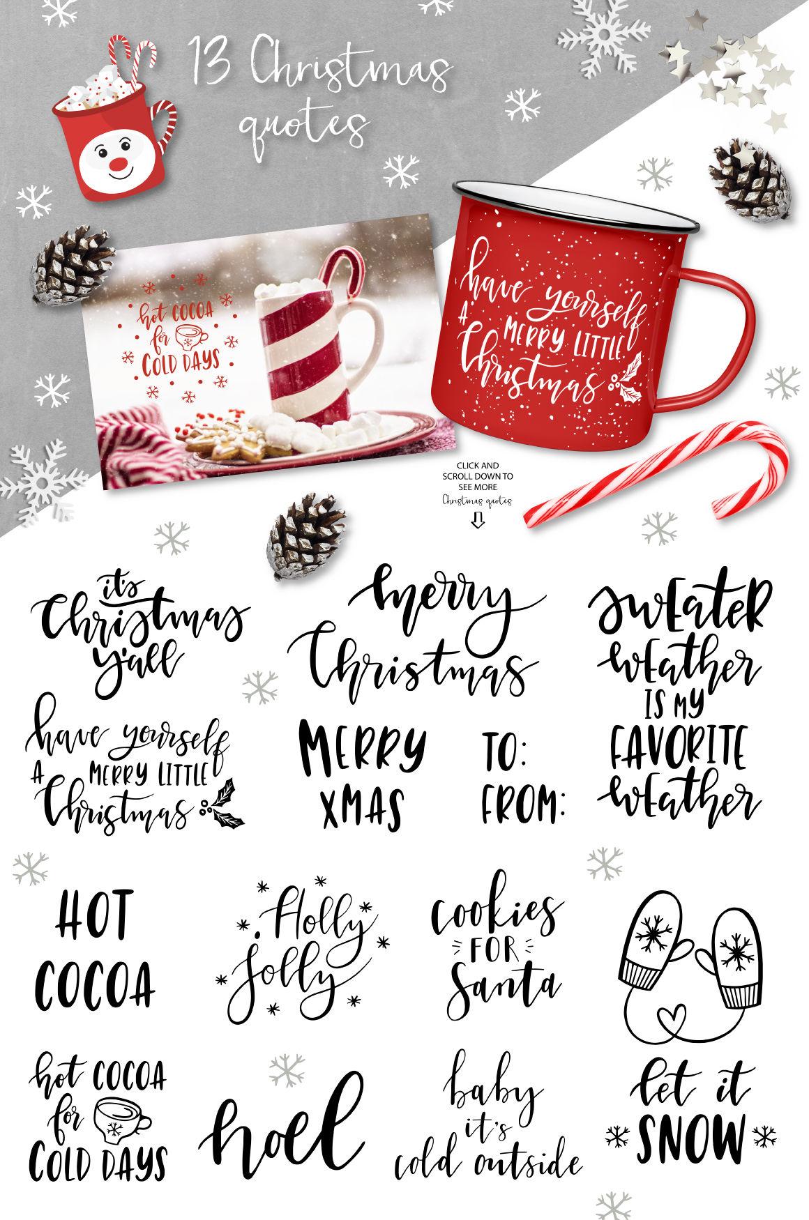 Merry Christmas Clip Art Quotes By Lokko Studio Thehungryjpeg Com
