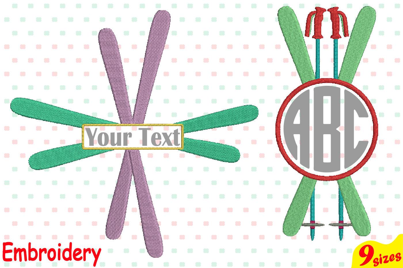 Winter Ski Designs For Embroidery Machine Instant Download