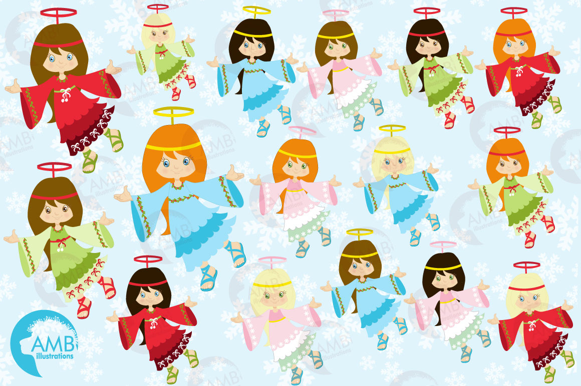 Christmas Angels Clipart.Christmas Angels Clipart Graphics Illustrations Amb 572 By