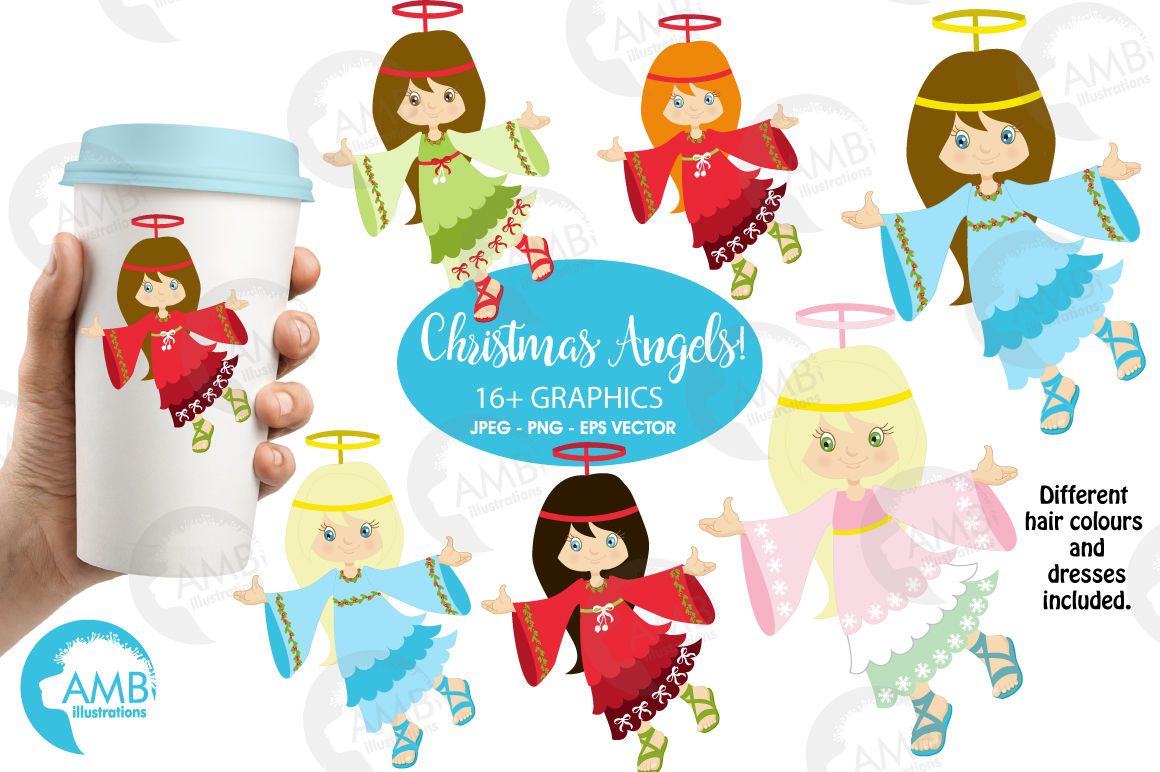 Christmas Angels Images Clip Art.Christmas Angels Clipart Graphics Illustrations Amb 572 By