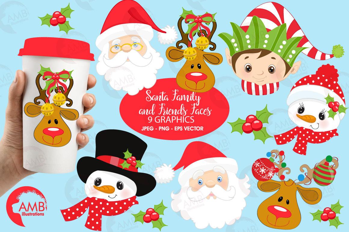 Christmas Faces Clipart Christmas Santa Clipart Christmas Elf