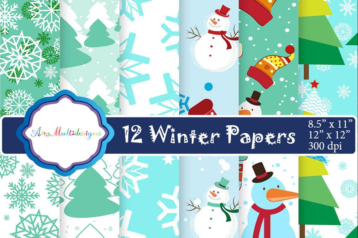Christmas Digital Paper Winter Digital Paper Santa Digital