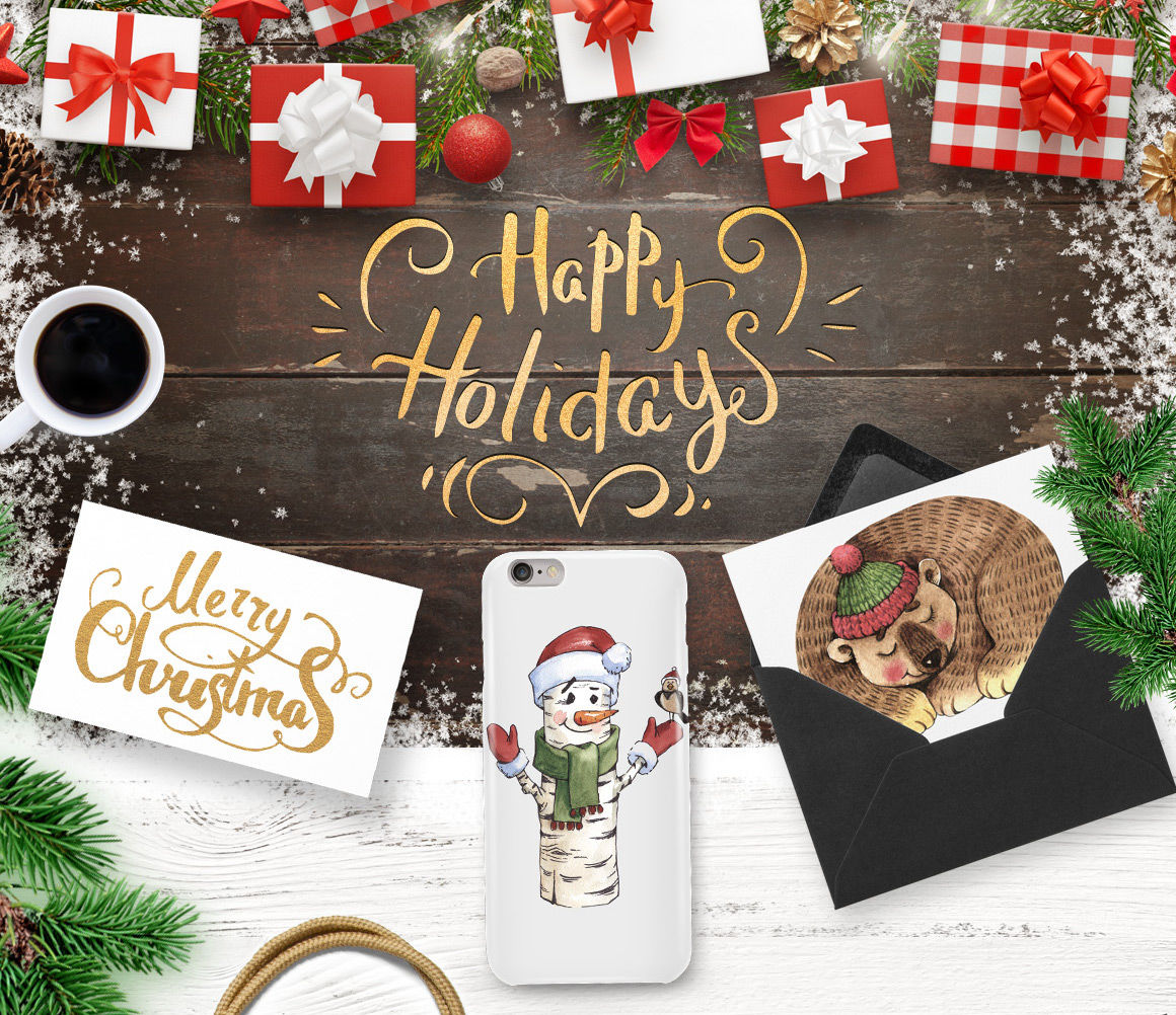 Merry Christmas And Happy Holidays Png And Eps Elements By