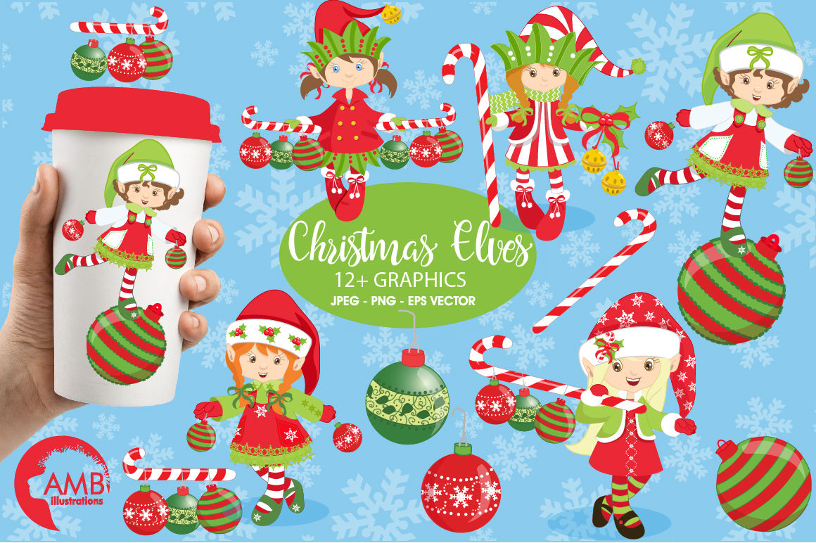Christmas Girly Elves Clipart Graphics Illustrations Amb 195 By