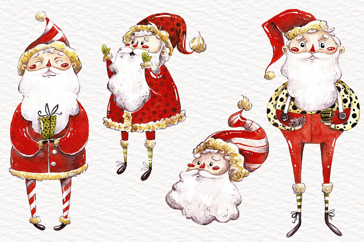 Watercolor Santas And Snowmen By Talloshau S Illustrations