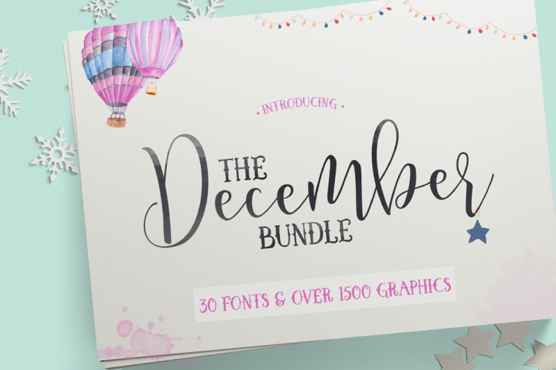 The December Bundle By Thehungryjpeg Thehungryjpeg Com