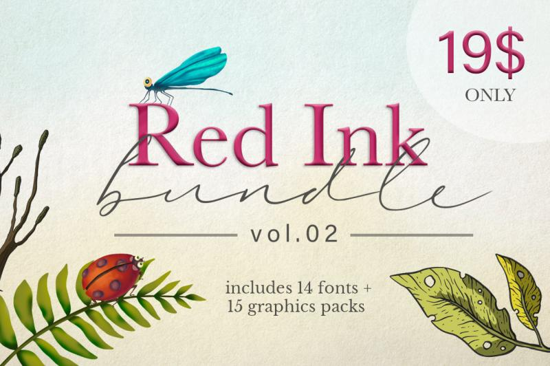 The Red Ink Bundle Vol 2 By Thehungryjpeg Thehungryjpeg Com