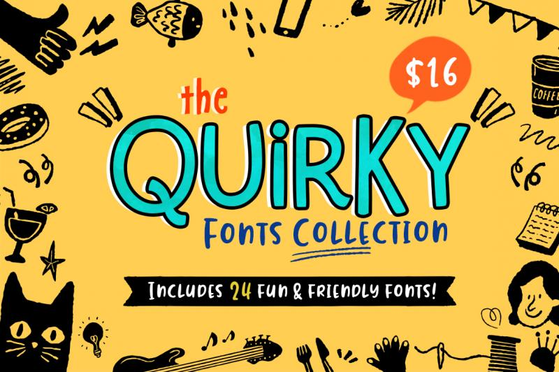 The Quirky Fonts Collection By Thehungryjpeg Thehungryjpeg Com