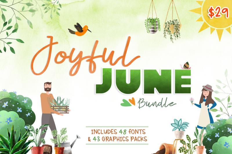 Joyful June Bundle By Thehungryjpeg Thehungryjpeg Com
