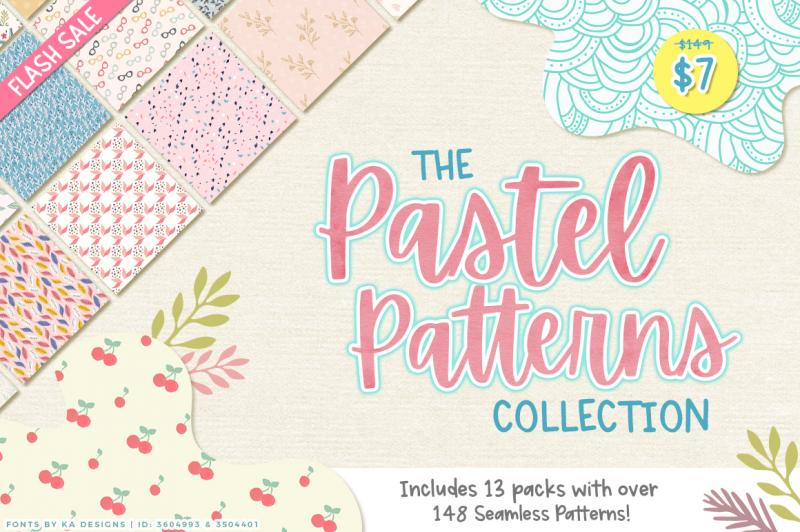 The Pastel Patterns Collection By Thehungryjpeg Thehungryjpeg Com