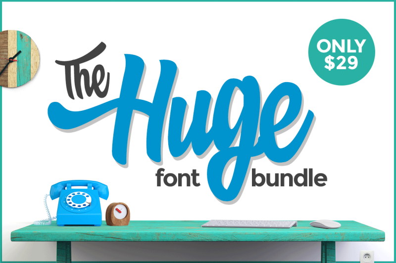 Download The HUGE Font Bundle By TheHungryJPEG | TheHungryJPEG.com