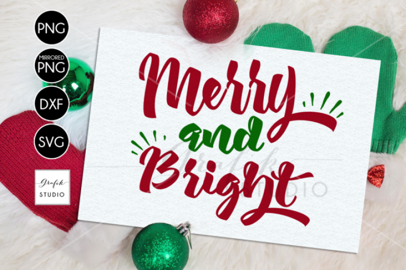 Free Merry And Bright Christmas Svg Dxf Png File By