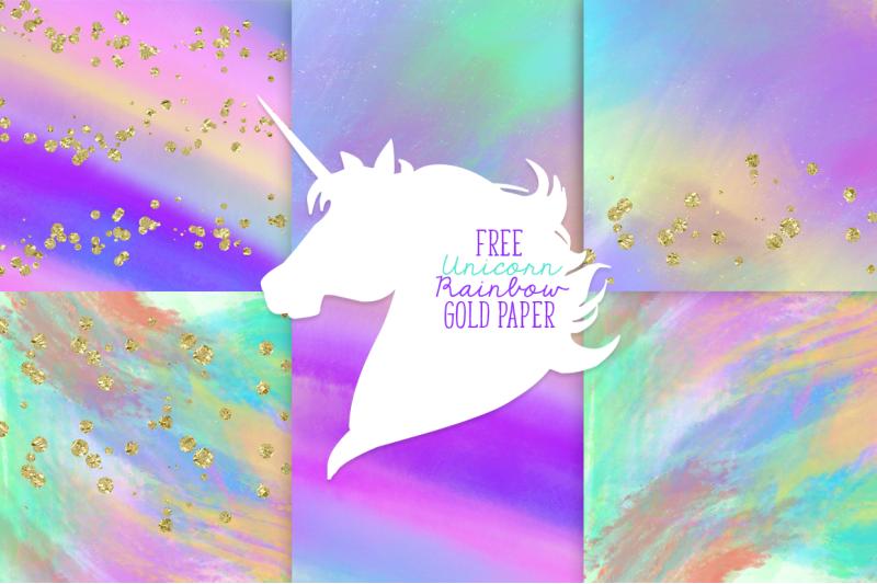 Free Unicorn Rainbow Gold Paper By Thehungryjpeg Thehungryjpeg Com