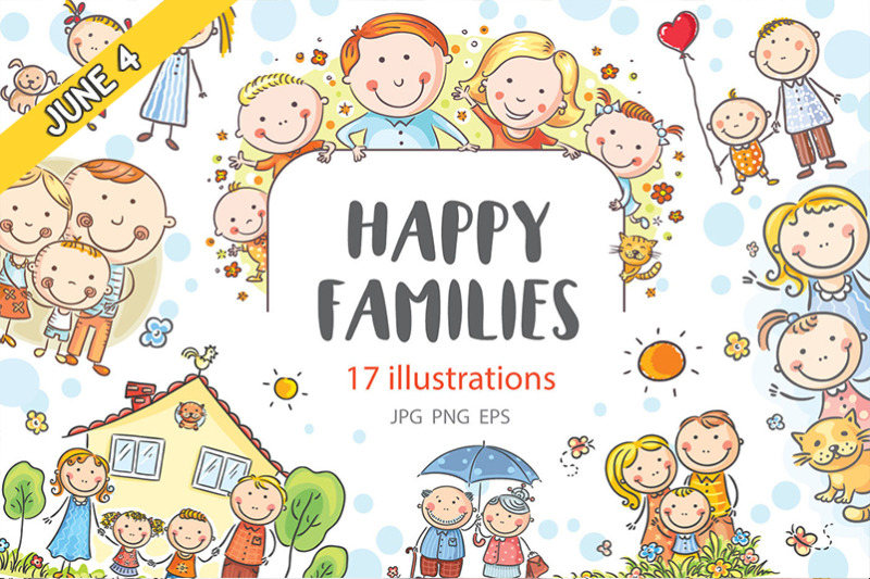 Free Happy Families By Thehungryjpeg Thehungryjpeg Com