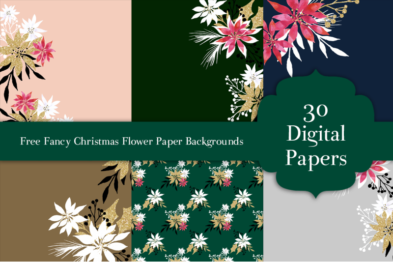 Free Fancy Christmas Flower Paper Backgrounds By Thehungryjpeg