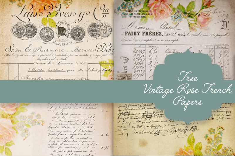 Free Vintage Rose French Papers By Thehungryjpeg Thehungryjpeg Com