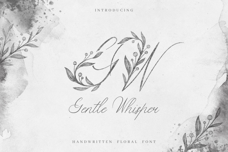 Free Gentle Whisper Floral Font By Thehungryjpeg Thehungryjpeg Com
