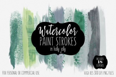 FREE Holly Jolly Watercolor Brush Strokes Set
