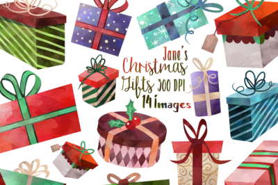 FREE Watercolor Christmas Gifts Clipart