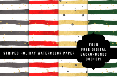 FREE Striped Holiday Watercolor Paper