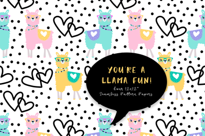 FREE You're A Llama Fun Seamless Background Papers