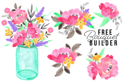 FREE Watercolor Bouquet Builder Set