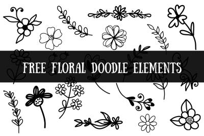 FREE Floral Doodle Elements