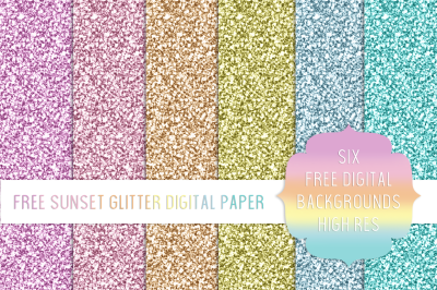 FREE Sunset Glitter Digital Paper