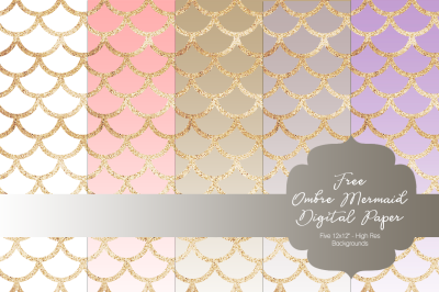 FREE Ombre Mermaid Digital Paper