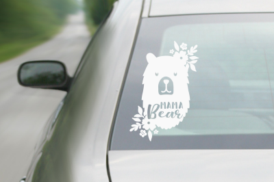 FREE Mama Bear & Flower SVG