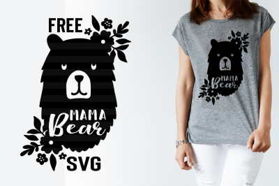 FREE SVG Cut File: Mama Bear with Flowers