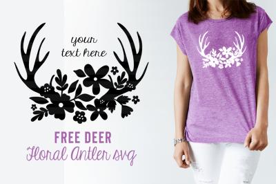 FREE SVG Cut File: Floral Deer Antler