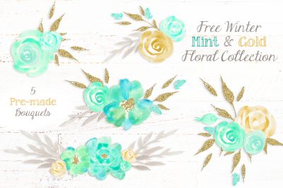 FREE Winter Mint & Gold Floral Collection