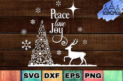 FREE Christmas SVG: Peace, Love, Joy
