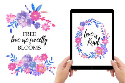 FREE Love Me Sweetly Blooms Graphic Collection